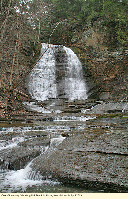One of the many falls along Lick Brook in Ithaca, New York, USA on 14 April 2013.